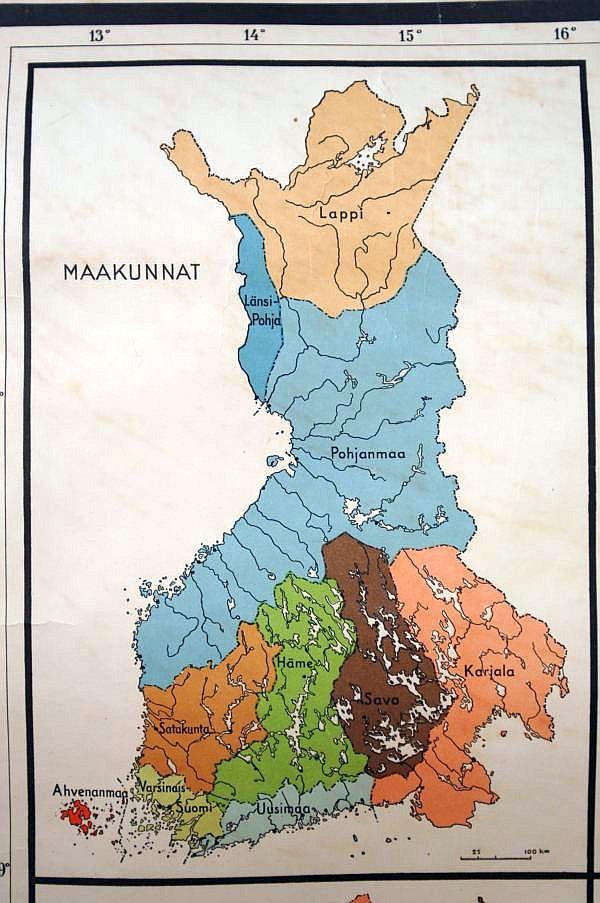 Pihlajaveden Ala Aste Keuruu Suomen Maakuntakartta 1930 Luvulta